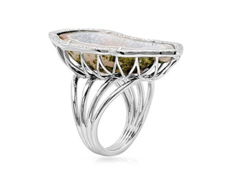 Diamond Halo Geode Stone Wrapped Ring in 14k White Gold 0.50 ct  | ready to ship!