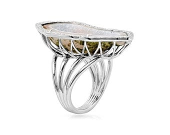 Diamond Halo Geode Stone Wrapped Ring in 14k White Gold 0.50 ct tw | ready to ship!