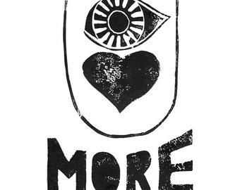 I love you more - Eye heart you more - Printable file for print at home - design Linoleum letterpress kids wall art