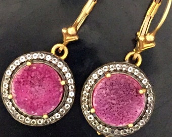 Gold Filled CZ and Purple Druzzy leverback dangle Drussy Earrings (EA16)