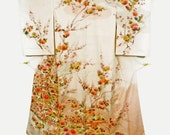 Japanese Silk Kimono, Off White with Multicolor Flower Pattern, Vintage Collectible