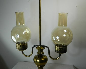 Vintage Candle Hurricane Lamp Double Lamp Candles Candelabra