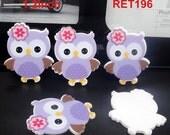 ON SALE Cute Purple Owls Planar Plastic Shrinky Dinks Cabochon Resin Flat Back Scrap Booking Girl Hair Bow Center Kids Crafts DIY