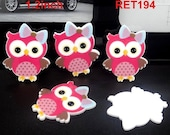 ON SALE Cute Hot Pink Owls Planar Plastic Shrinky Dinks Cabochon Resin Flat Back Scrap Booking Girl Hair Bow Center Kids Crafts DIY
