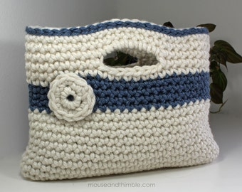 Chunky Crochet Tote Pattern : Chunky Basket Handbag Tote Easy Crochet PATTERN by ...