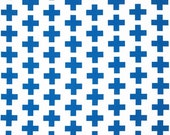 1 Yard Kaufman Geo Pop Fabric -  Blue and White Geometric - Plus Sign Fabric - Fabric by the Yard