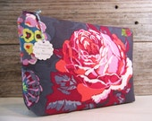 Extra large cosmetic bag - Make up bag clutch in beautiful purple fabric with red cabbage rose , large make up bag.