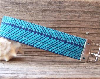 beautiful bright blue Amy Butler fabric key fob  , key ring in pretty blue fabric , key fob , modern key fob ,strap,wrist strap ,
