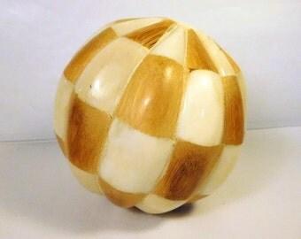 Vintage WOOD & FAUX Bone - Shell BALL - Home Decor - Unique - Lucite