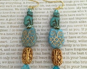 Owl and Pussy-Cat Earrings - Limited Edition - Made With Czech Crystals In Blue and Gold Great For Cat Lovers! Owls Felines