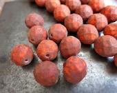 12mm Czech Glass Orange Picasso Firepolish Beads, Strand of 8 Beads
