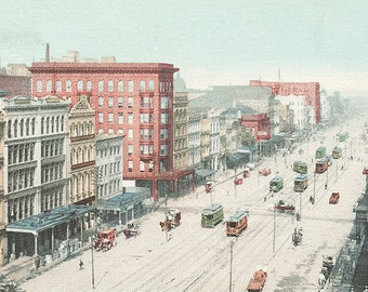 Canal Street, New Orleans, Louisiana, Vintage Illustration digital download