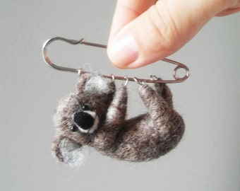 Little Hanging Koala , Felted Animal Brooch, Koala Pin/MADE TO ORDER