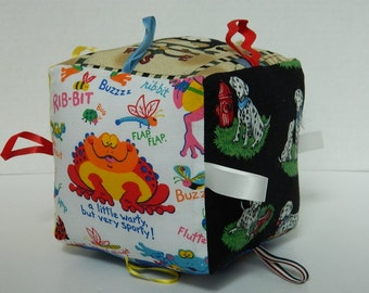 """Baby Toy Block - Soft Fabric Toy - Infant Thru Toddler Stages of Play - Baby Shower Gift - 6"""" Square Cube - Eye Spy Toy - Animal Block Toy"""