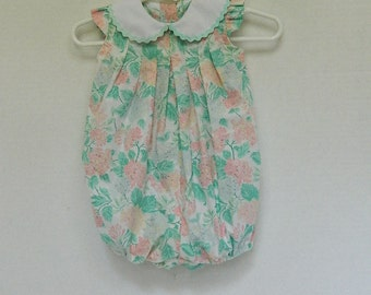 Newborn Baby Sunsuit - Girls Handmade Romper - OOAK Baby Bubble - Turquoise and Pink Floral Sunsuit - Baby Shower Gift - Baby Clothes -