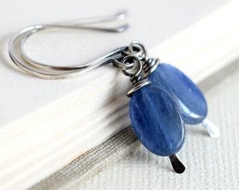 Kyanite Earrings, Oxidized Earrings, Blue Stone Earrings, Silver Blue Earrings, Denim Blue Earrings, Rustic Earrings, Everyday Wire Wrapped