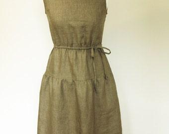 Linen dress  Summer fashion light khaki