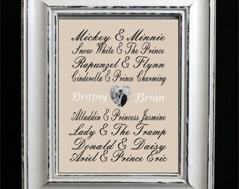 Disney Famous Couples Print, Couples Art, Valentines Gift, Personalized Photo Couples Gift, Custom Wedding Gift, Bridal Shower Gift