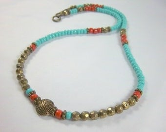 Southwestern Necklace, Turquoise and Coral Seed Beads, Short Style, Faceted Bronze Beads,  Easy Wear
