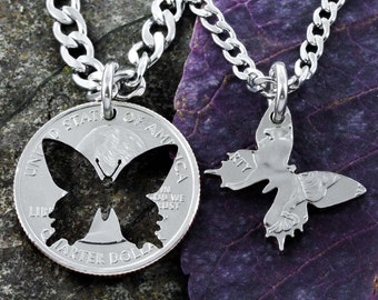 Butterfly Best Friends Necklaces, Inside and Outside pieces, Hand Crafted Cut Quarter