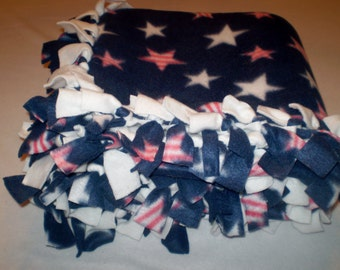 Navy Fleece Blanket with White and Red Stars, Warm, Winter Throw