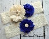 ROYAL BLUE Bridal Garter Set - Keepsake & Toss Garters - Burlap Flower Pearl Ivory Lace Garters - Rustic Country Wedding - Something Blue