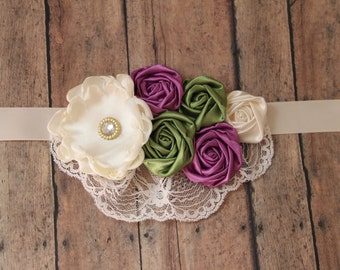 Purple Green and Ivory Sash Gender reveal sash maternity sash bridal sash rosette sash