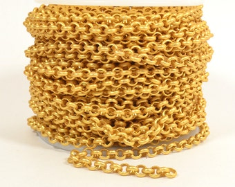 5ft - 18K Gold Plated Rolo Chain - 4.8mm Matte Gold Plated - CH80-18K-MG