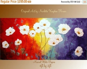 SALE XLarge gallery wrap canvas Original Contemporary   oil/acrylic  Impasto modern  abstract floral painting by Nicolette Vaughan Horner