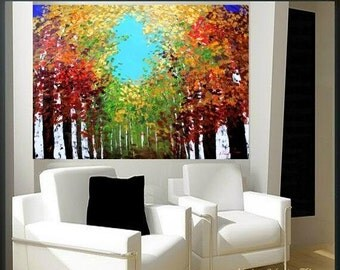 Sale 4ft x 3ft Oil Landscape painting Abstract Original Modern palette knife Birch Trees oil  impasto oil painting by Nicolette Vaughan Horn