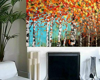 Original  abstract contemporary gallery canvas  palette knife Multi Color Birch Trees painting   by Nicolette Vaughan Horner