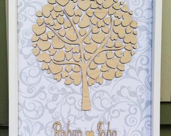 Beautiful laser cut Personalised Heart Tree Signature Alternative Guest Book