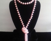 Vintage Long Soft Pink Necklace Flapper Jewelry Retro 1960s Mad Men Faux Pearl 1 Strand Retro Collectible Accessories Old Hollywood Glamour
