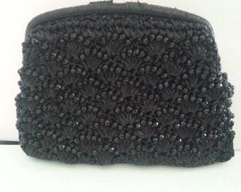 Now On Sale Black Beaded Vintage Clutch Bag ** Signed Evening 1950's Purse ** Old Hollywood Glamour ** Mad Men Mod Style ** Retro Rockabilly