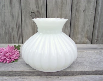 """7"""" Lamp Shade Antique MILK Glass Ruffled Melon Shade - for 7"""" fitter - Replacement Globe - Chandelier Ceiling Hanging"""