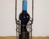 Vintage Metal and Wood Wine Bottle Holder - Single Bottle