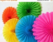 SALE 50% OFF Hanging Tissue Fans Rosettes Hanging Tissue Pinwheels Fiesta Decoration Rainbow Party Decoration Table Backdrop Rainbow Favors