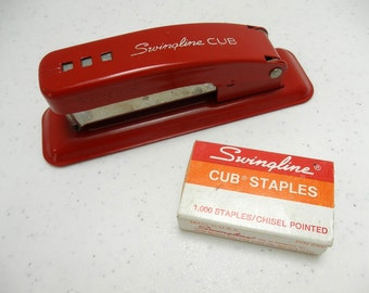 Red Swingline CUB Stapler & Box Staples Made in USA Long Island NY 60s Madmen Kitsch Midcentury Industrial Office Desk Supplies Decor