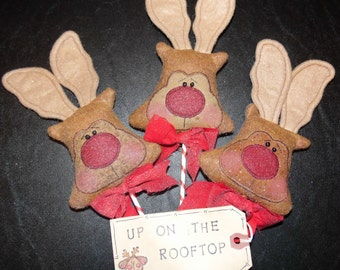 Primitive Whimsical Country Christmas REINDEER LOLLIPOPS Ornaments Ornies Bowl Fillers