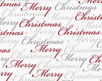 CHRISTMAS DREAMS-by the Yard by QT fabrics-Merry Christmas in red, silver, grey on white-24558-2