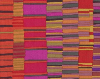SHIRT STRIPES-red by the half yard Kaffe FASSETT Classics cotton quilt craft fabric stacked red orange strips Westminster Fibers-Gp51.redd