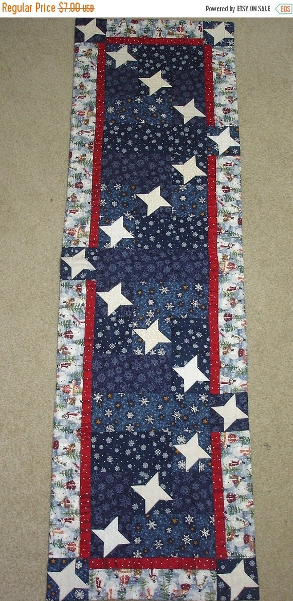 on SALE thru 8/1 STARRY SNOWY Night friendship stars quilted table runner pattern WInter January Year one
