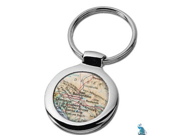 Map Keychain San Bernadino California Key Ring Fob
