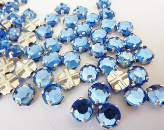 50 vintage sew on rhinestones, Ø7mm, light sapphire, round