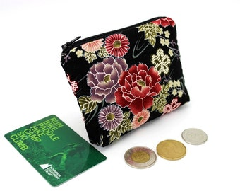 Small Coin Purse, Gift For Her, Card Holder, Peony Black