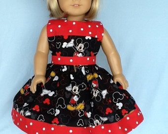 18 inch doll dress. Will fit American Girl doll and Our Generation doll. Novelty print.