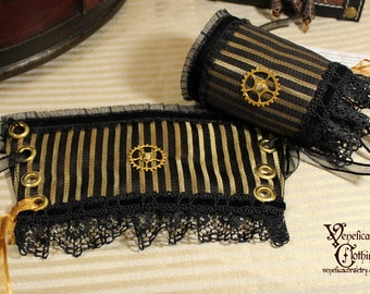Steampunk Keyhole Single Wrist Cuff -- Ready to Ship, Size S -- Black and Gold Pinstripe with Gear