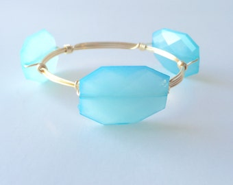 Robins Egg Blue Wire Wrapped Bangle Bracelet
