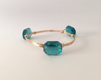 Teal Crystal Wire Wrapped Bangle Bracelet