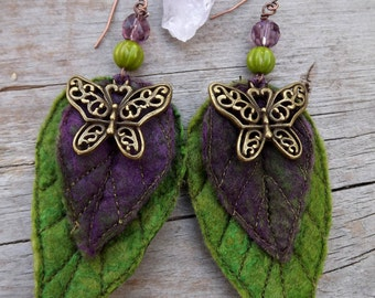 Boho dangle purple butterfly earrings-unique earrings-statement earrings-Leaf Earrings- Pixie Earrings - Purple Accessory- leaf earrings